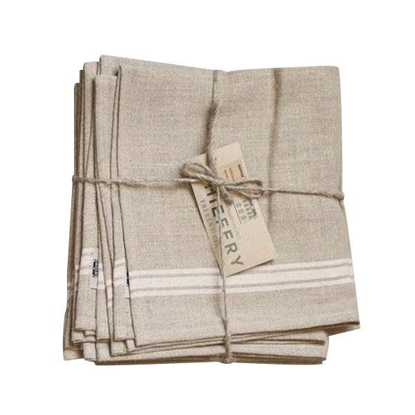 Thieffry White Monogramme Linen Dishtowel - Thirty Six Knots