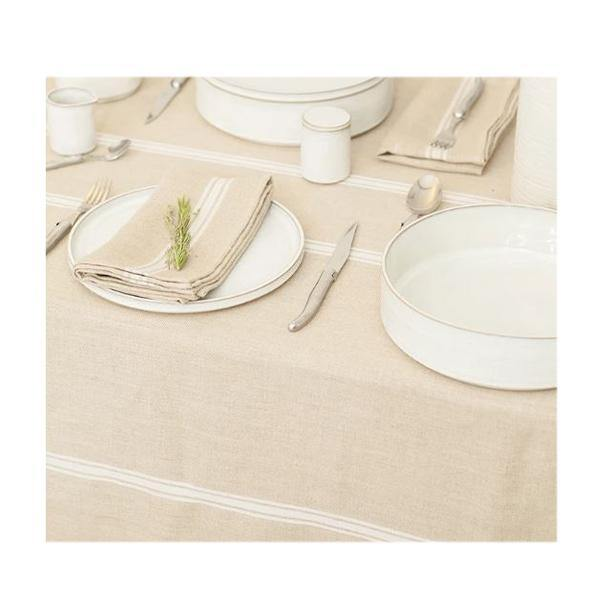 Thieffry White Monogramme Linen Tablecloth - Thirty Six Knots