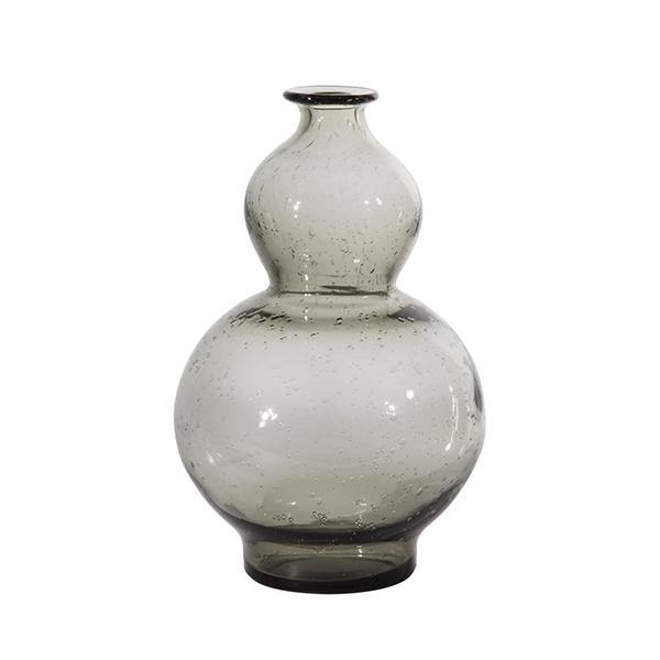 Warm Grey Glass Gourd Bottle Vase