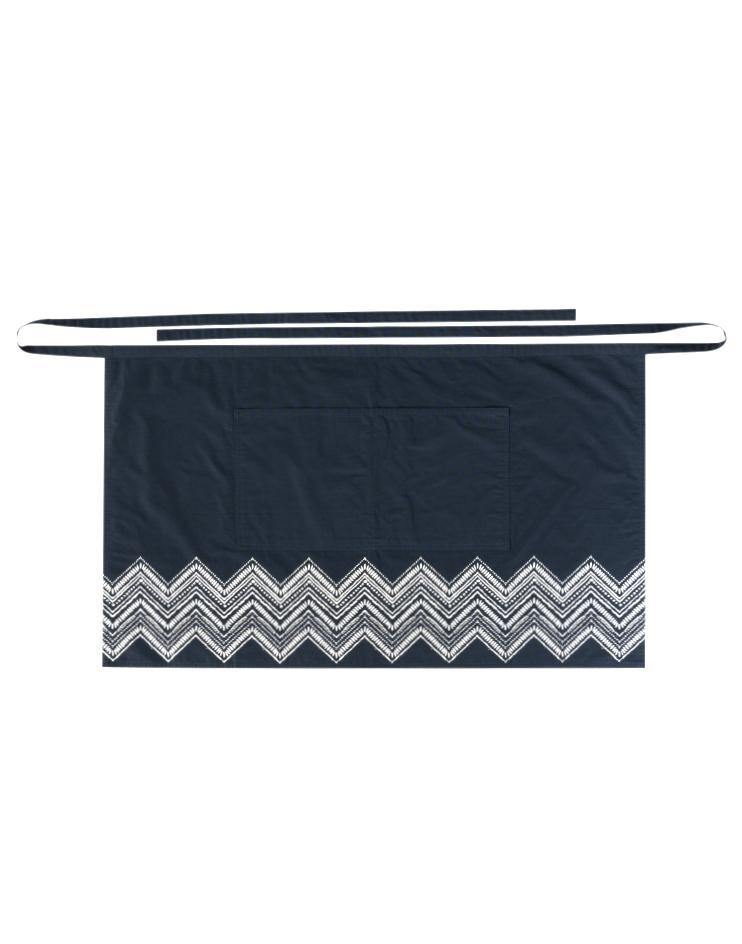 Navy-Blue Knee-Length Bistro Apron with White Details - Thirty Six Knots
