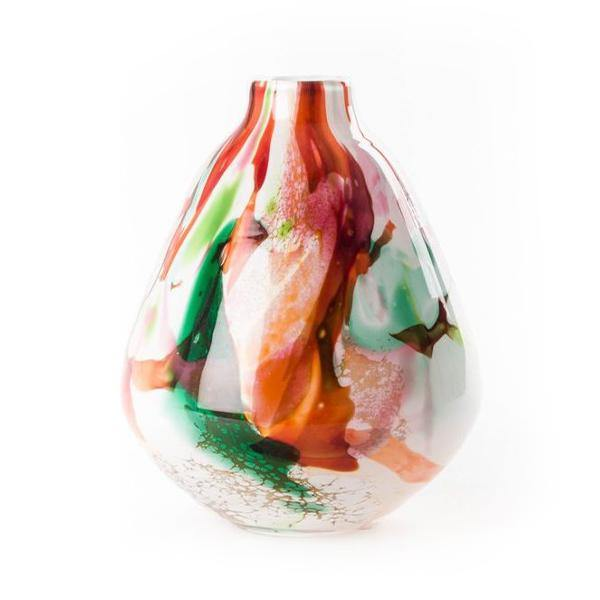 Fidrio Mixed Colours Pear Shape Glass Vase - Thirty Six Knots