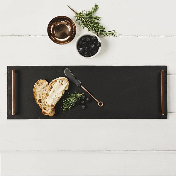 Slate Tray with Copper Handle Long - Thirty Six Knots