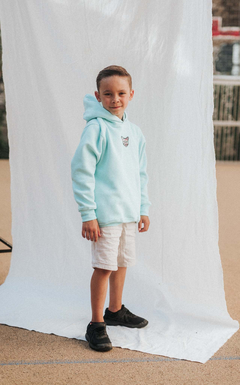 KIDS TURQUOISE SPORTS CLUB HOODIE CAT