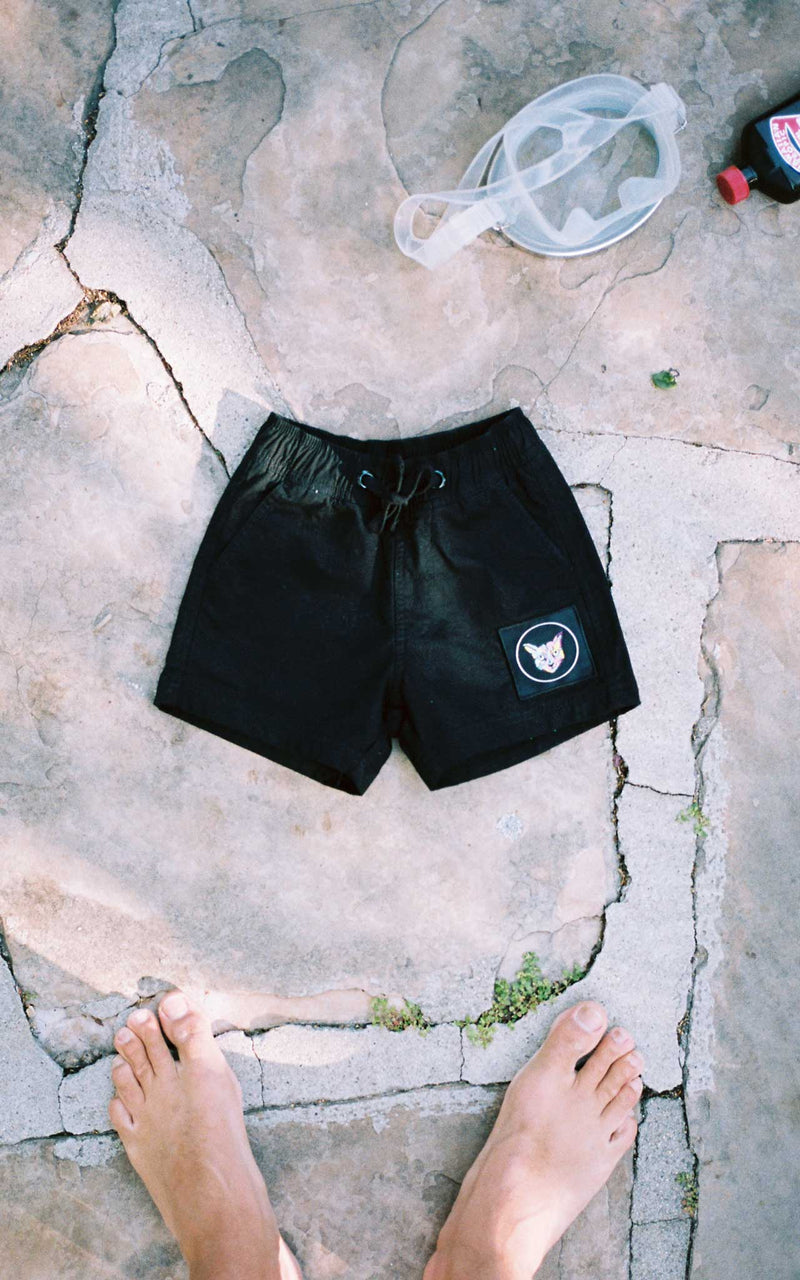 KIDS BLACK SWIM CLUB SHORTS