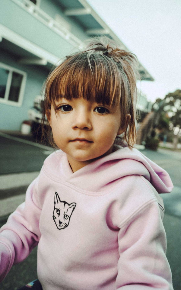 KIDS LILAC HOODIE RUBBER CAT