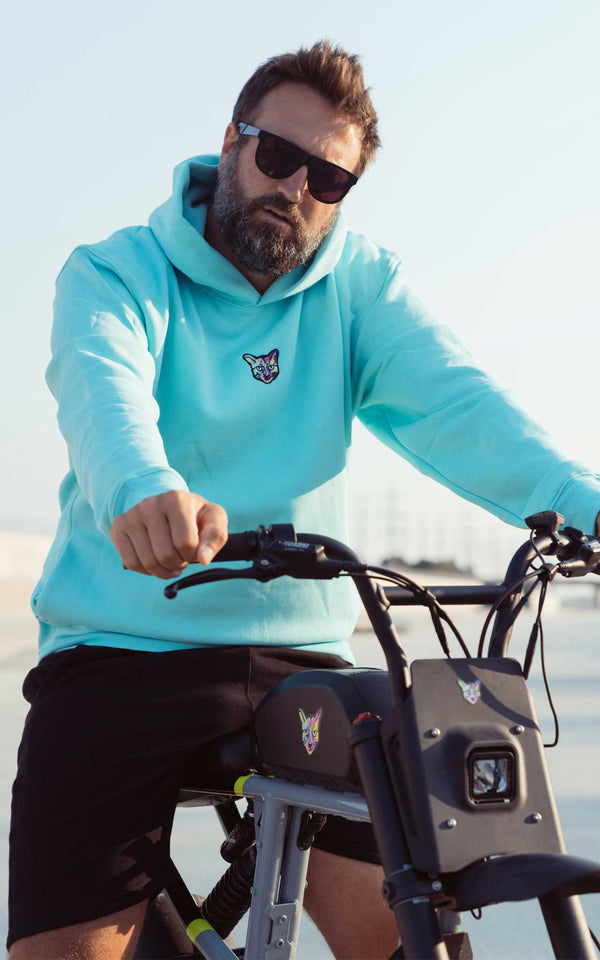 TURQUOISE SPORTS CLUB HOODIE CAT