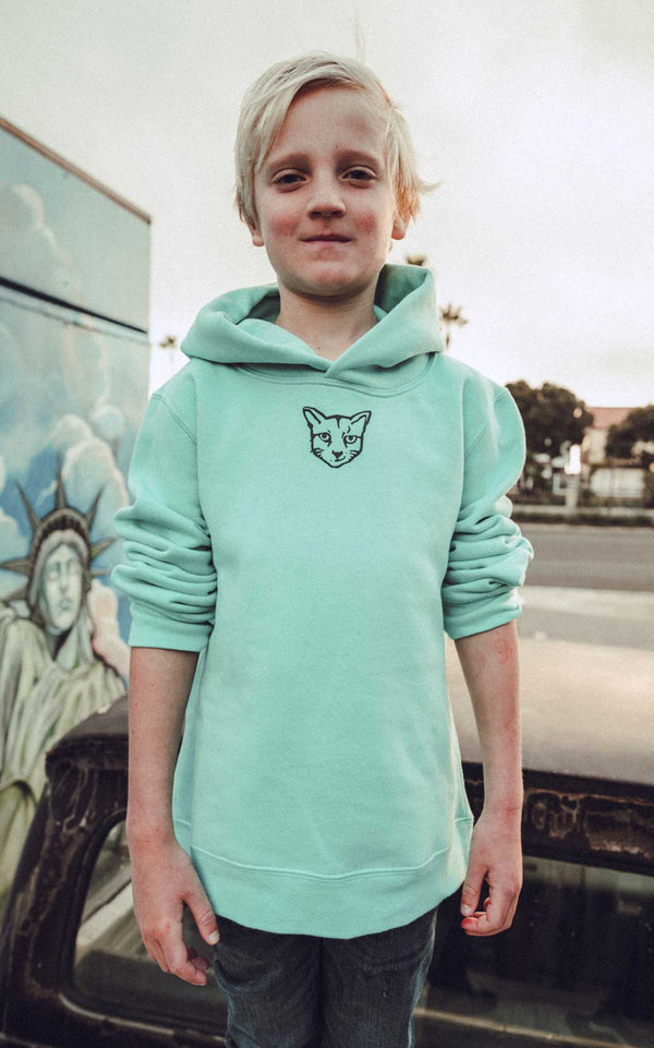 KIDS TURQUOISE HOODIE RUBBER CAT