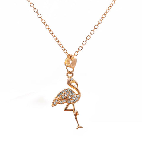 collier doré flamant rose