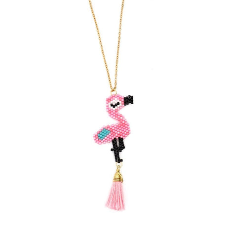 collier fantaisie flamant rose