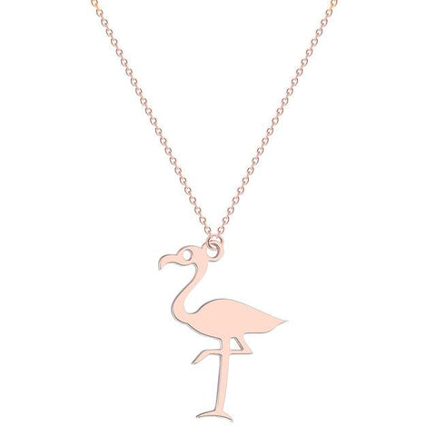 collier flamant rose doré