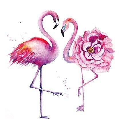dessin tatouage flamant rose