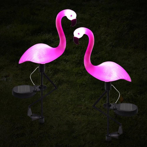 lampe solaire flamant rose