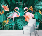 Papier Peint Flamant Rose <br> Jungle