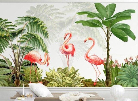 papier peint tropical flamant rose