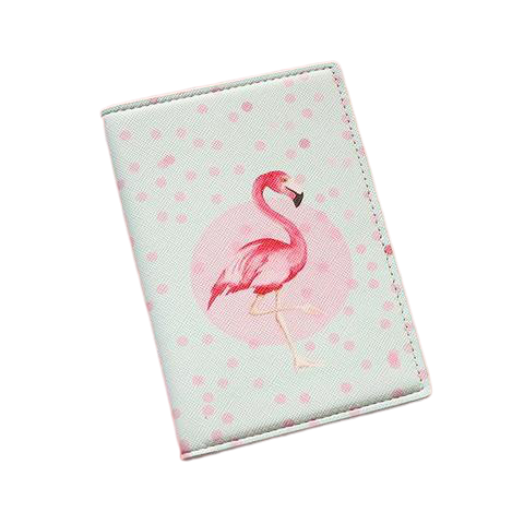 porte passeport flamant rose