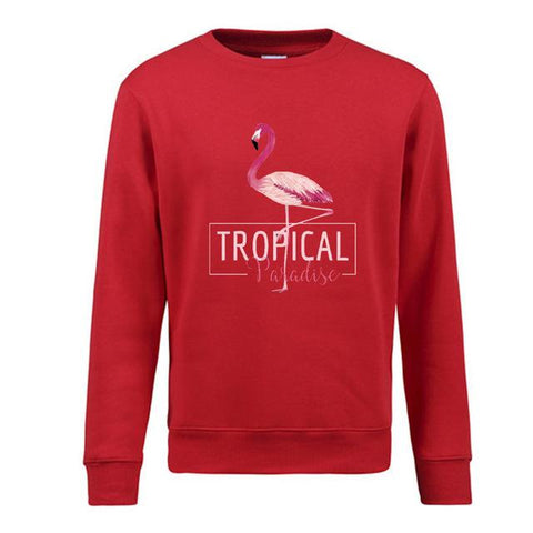 pull rouge flamant rose