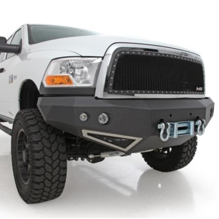 Smittybilt M1 Dodge Truck Winch Mount Front Bumper with D-ring Mounts and Light Kit (Black) - 612800
