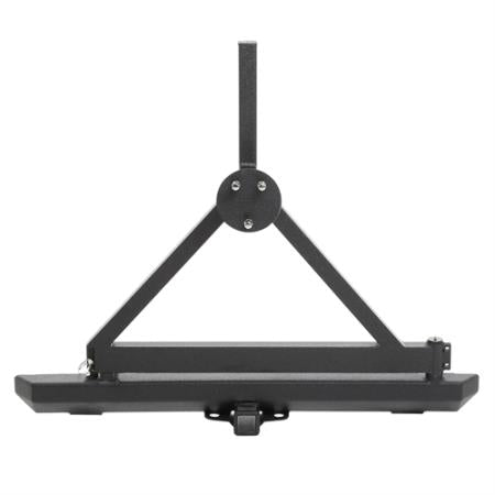 Smittybilt Classic Rock Crawler Rear Bumper and Tire Carrier with Receiver Hitch (Black) - 76651