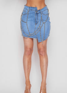 Unbalanced Chain Denim Skirt