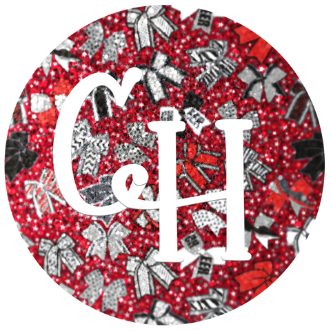 HTV Glitter Print • Red Cheer Bows