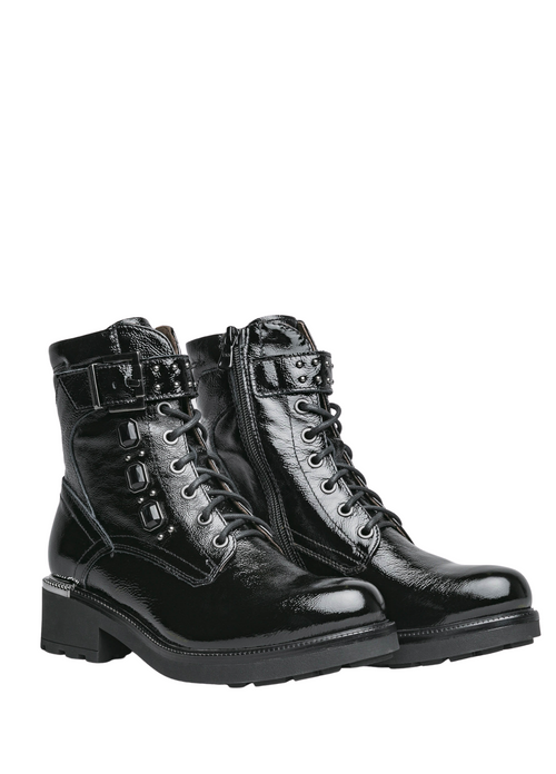 Nero Giardini Black Patent Leather Biker Boots - Ribbon Rouge Boutiques