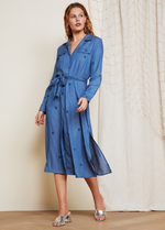 Fabienne Chapot Chambray Midi Shirt Style Denim Blue Long Sleeve  Belt Dress With Split On Sides