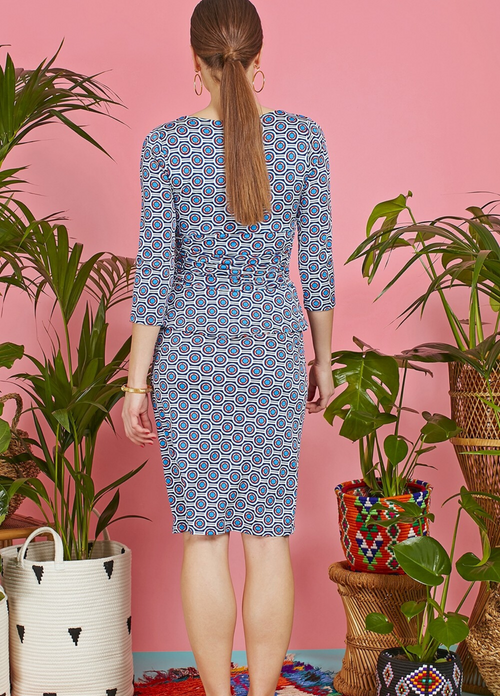 Onjenu Kiki Blue & Red Print 3/4 Sleeve Dress