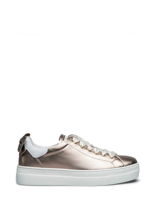 Nero Giardini Rose Gold Bow Leather Trainer - Ribbon Rouge Boutiques