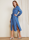 Fabienne Chapot Chambray Midi Denim Blue Belted Shirt Style Split Star Print DressFabienne Chapot Chambray Midi Shirt Style Denim Blue Long Sleeve Pocket Detail Belt Dress With Split On Sides