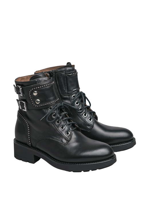 Nero Giardini Black Leather Biker Ankle Boots - Ribbon Rouge Boutiques
