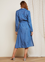 Fabienne Chapot Chambray Midi Denim Blue Belted Split Star Dress Back