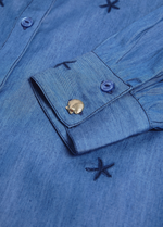 Fabienne Chapot Chambray Midi Denim Blue Belted Split Star Shirt Cuff Details