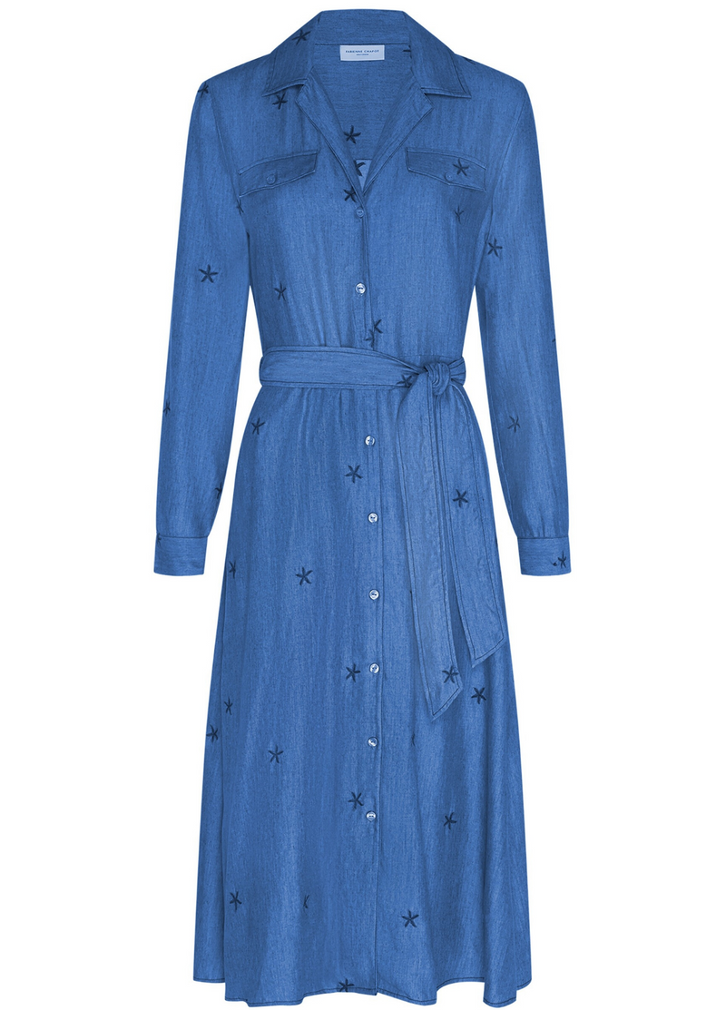 Fabienne Chapot Chambray Midi Denim Blue Belted Split Star Dress Online Ribbon Rouge Boutiques