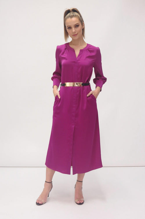 7454/55 FEEG MAGENTA PINK LONG SLEEVE SHIRT DRESS WITH GOLD BELT RIBBON ROUGE BOUTIQUES