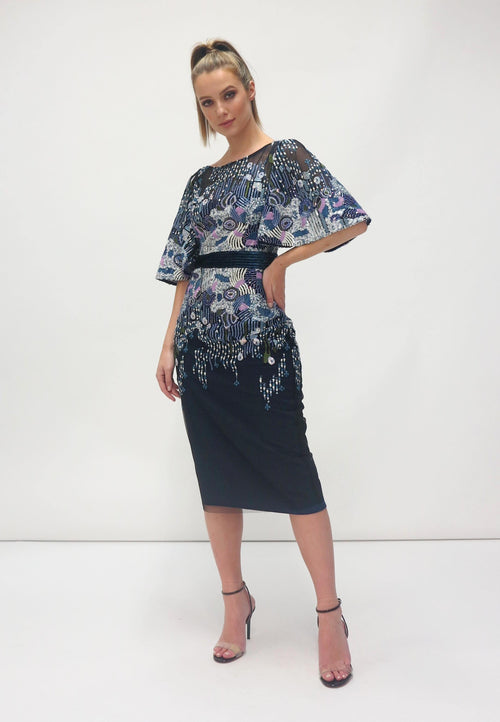 FeeG Navy Embroidered Sequin Dress - Ribbon Rouge Boutiques