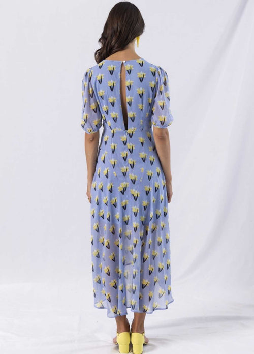 Anonyme-A121sd046-Fleuredelis-Blue-Floral-Print-Womens-Midi-Dress-With-Elbow-Length-Sleeves-From-Back