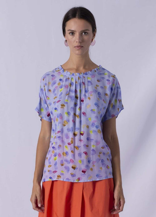 Anonyme lavender blue disty frill high neck short sleeve top