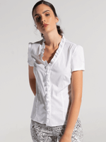 Bariloche-SS21-Ladies-White-Short-Sleeve-Shirt-With-Frills-Ribbon-Rouge-Ireland