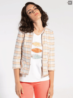 Bariloche-SS21-Orange-Tweed-Ladies-Boucle-Jacket-NoButtons-Ribbon-Rouge-Ireland
