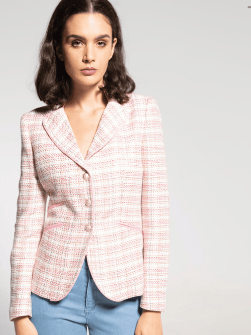 Bariloche-SS21-Pastel-Pink-Tweed-Print-Ladies-Blazer-Jacket-Ribbon-Rouge-Ireland