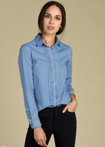 Bariloche Eria Blue Ladies Penguin Print Shirt - Ribbon Rouge Boutiques