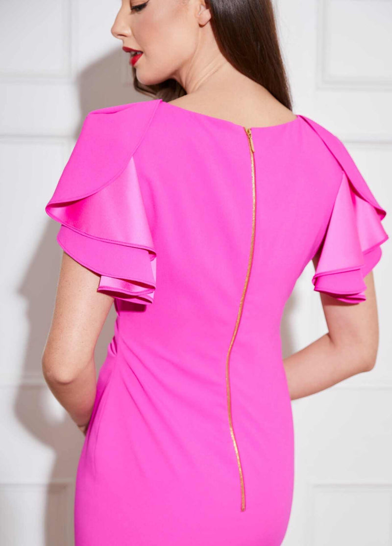 Caroline-Kilkenny-SS21-Derry-Womens-Pink-Pencil-Dress-From-The-Back-Irish-Occasion-wear-Ribbon-Rouge