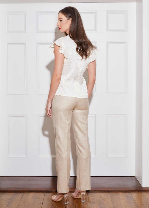 Caroline-Kilkenny-SS21-Finn-Womens-Gold-Wide-Leg-Trousers-From-The-Back-Ribbon-Rouge