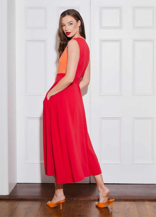 Caroline-Kilkenny-SS21-Freddy-Sleeveless-Womens-Midi-Dress-With-Red-And-Orange-Colour-Block-From-The-Back-Ribbon-Rouge