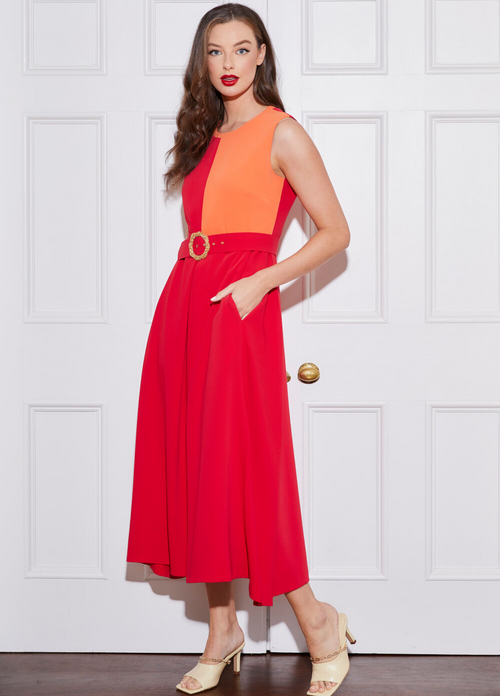 Caroline-Kilkenny-SS21-Freddy-Sleeveless-Womens-Midi-Dress-With-Red-And-Orange-Colour-Block-Ribbon-Rouge