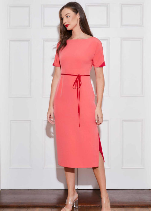 Caroline-Kilkenny-SS21-June-Coral-Pink-Short-Sleeve-Womens-Midi-Pencil-Dress-With-Red-Skinny-Belt-Ribbon-Rouge