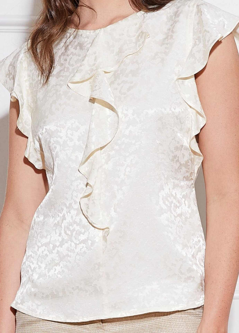 Caroline-Kilkenny-SS21-Leah-Jaquard-Print-Cream-Womens-Dressy-Top-With-Frill-Detailing-Ribbon-Rouge