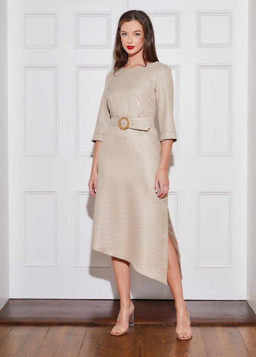 Caroline-Kilkenny-SS21-Polly-Womens-Gold-Midi-Length-Ocassion-Dress-With-High-Neck-And-Belt-Ribbon-Rouge