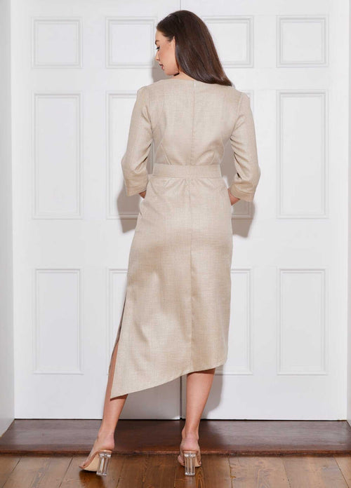 Caroline-Kilkenny-SS21-Polly-Womens-Gold-Midi-Length-Occasion-Dress-With-Belt-From-Back-Ribbon-Rouge