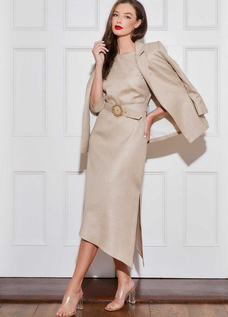 Caroline-Kilkenny-SS21-Polly-Womens-Gold-Midi-Length-Occasion-Dress-With-Matching-Jacket-Ribbon-Rouge.
